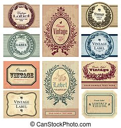 vintage labels set (vector) - set of vintage labels,...
