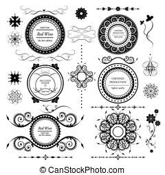 vintage labels vector set and different calligraphic design elements