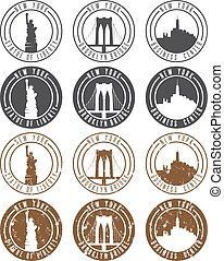 vintage labels vector set with landmarks of New York City
