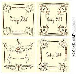 Vintage labels with ornate elegant abstract floral design