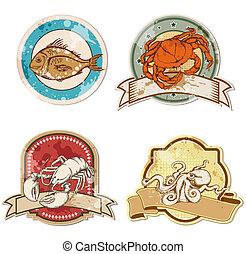 vintage labels with seafood - set of vector vintage labels...
