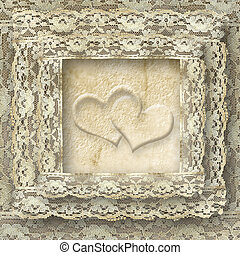 vintage lace card two hearts - two hearts lace frame...