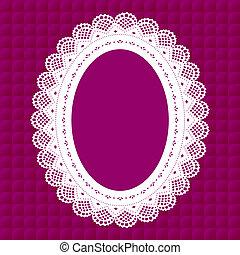 Vintage Lace Doily Frame - Vintage lace doily oval picture...