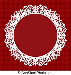 Vintage lace doily round picture frame on red quilted background. Copy space for albums, scrapbooks, holidays, celebrations, decorating, arts, crafts.