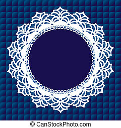 Vintage lace doily round picture frame on royal blue quilted background. Copy space for albums, scrapbooks, holidays, celebrations, decorating, arts, crafts.
