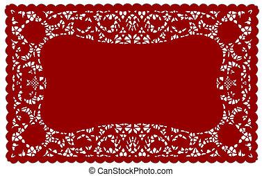 Vintage Lace Doily Placemat - Vintage pattern red lace doily...