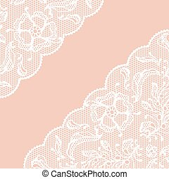 Vintage lace frame, ornamental flowers