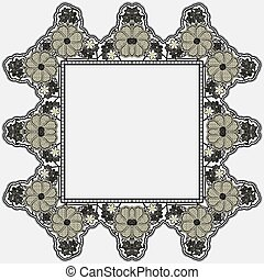 Vintage lace frame with crocheted flowers isolated on white background.