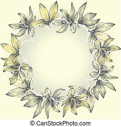 Vintage lace frame with flowers, hand-drawing. Vector