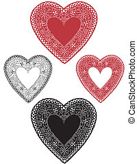 Vintage Lace Heart Doilies - Vintage red and black lace...