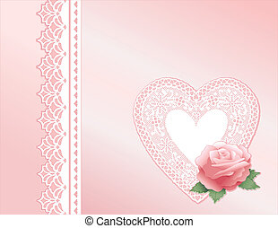Vintage Lace Heart, Pink Satin Gift