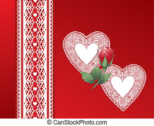 Vintage Lace Heart, Red Satin Gift