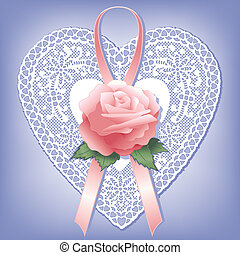 Vintage Lace Heart with Pink Rose