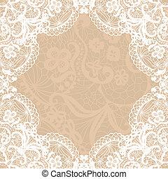 Vintage lace invitation card. - Vector black lace on texture...
