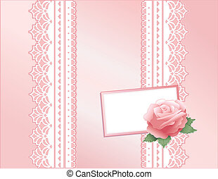 Vintage Lace, Pink Satin and Rose