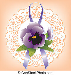 Vintage Lace with Violet Pansy