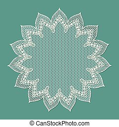 Vintage lacy frame on blue background, doily.
