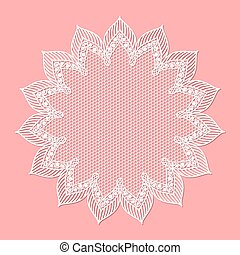 Vintage lacy frame on pink background, doily.