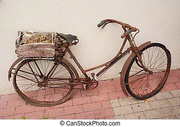 Vintage ladies bike - An old weathered rusty bicycle with...
