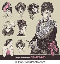 Vintage ladies - Vector illustration - vintage ladies