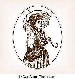 Vintage lady sketch style vector illustration
