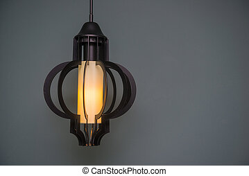 Vintage lamp hanging from the ceiling