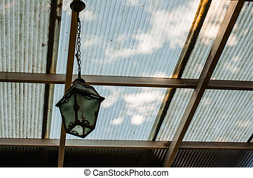 vintage lamp hanging on the ceiling