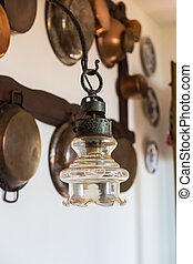 Vintage lamp on the background wall