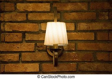 vintage lamp on the brick wall
