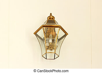 Vintage lamp on white wall