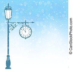 Vintage lamppost with clock in snowfall on blue - Vintage ...