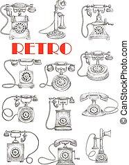 Vintage landline telephones, sketch style