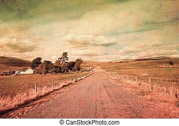 Vintage landscape with a rural road