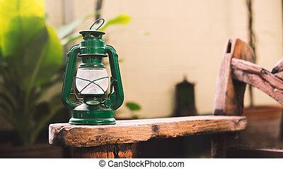 vintage lantern lamp on wooden
