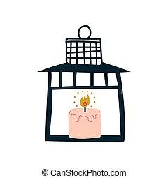 Vintage Lantern with Burning Candle Vector Illustration