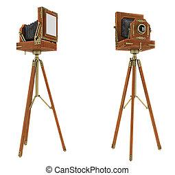 Vintage large format camera isolated on white