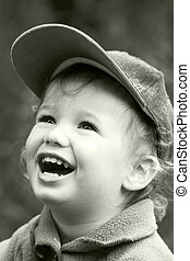 Vintage laughing kid - The carefree dared laughing boy