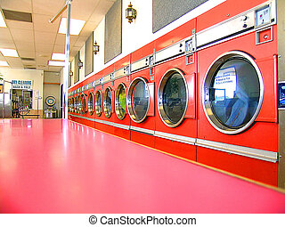 Vintage Laundromat - row of commercial clothes dryers, in...