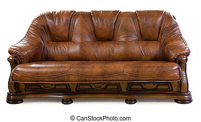 Vintage leather sofa isolated on white