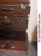 Vintage leather suitcases for travel. Retro travel baggage