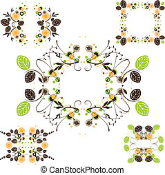 Vintage leaves frame - set