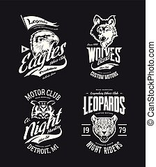 Vintage leopard, wolf, eagle and owl bikers club t-shirt vector isolated logo set.