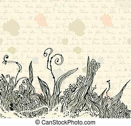 Vintage letter background with floral pattern
