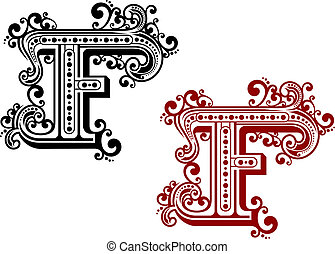 Vintage letter F with decorative elements