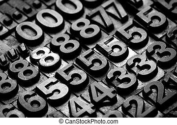 vintage letterpress alphabet and number background