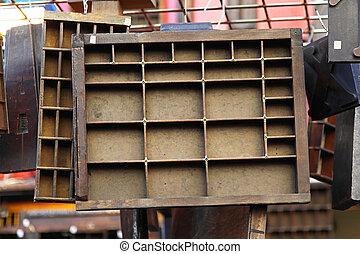 Vintage letterpress shelf