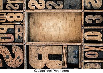 Vintage Letterpress type in Drawer