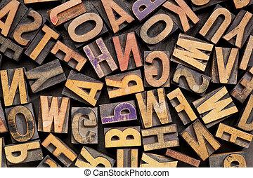 vintage letterpress wood printing blocks