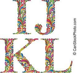Vintage letters i j k l.