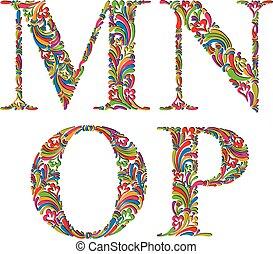 Vintage letters m n o p. - Floral alphabet, vintage letters...